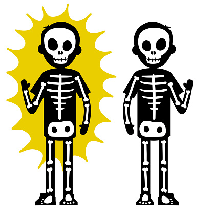 Electric shock. The silhouette of the skeleton and the yellow lightning flash.