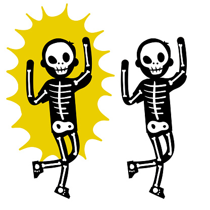 Electric shock. The silhouette of the skeleton and the yellow lightning flash
