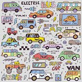 Electric Smart Self-driving Cars. Funny Doodle Vector Color Hand Drawn Illustration.