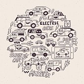 Electric Smart Self-driving Cars. Funny Doodle Vector Hand Drawn Circle Illustration.