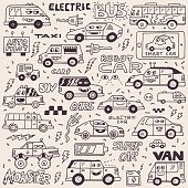 Electric Smart Self-driving Cars. Funny Doodle Vector Hand Drawn Illustration.