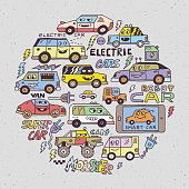 Electric Smart Self-driving Cars. Funny Doodle Vector Hand DrawnCircle Color Illustration.