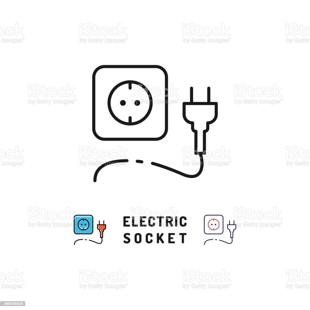 Elektrische Steckdose Und Stecker Icons Strom Zeichen Vector Dünne ...