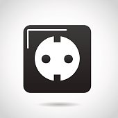 Electric socket icon isolated on white background.