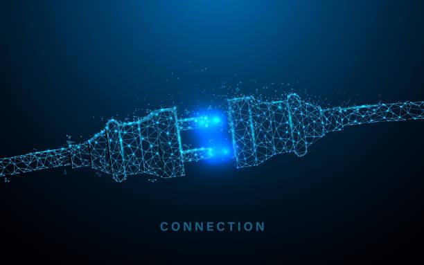 ilustraciones, imágenes clip art, dibujos animados e iconos de stock de toma de corriente con enchufe. concepto de conexión y desconexión. líneas, triángulos y diseño de estilo de partícula. vector de ilustración - electricity