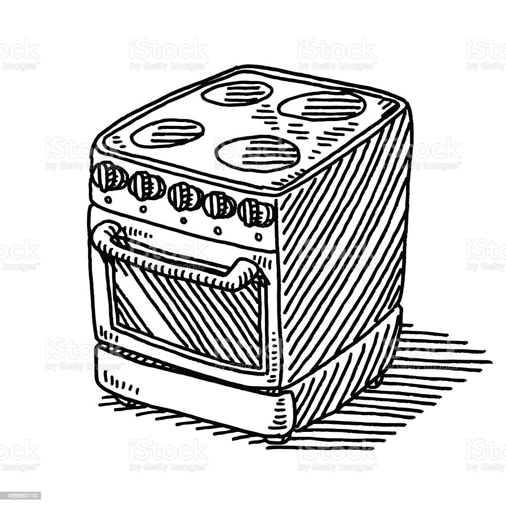Electric Stove Household Appliance Drawing Royalty Free Stock Vector Art