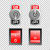 Electric switch buttons, on off position, 3d realistic vector object on transparent background