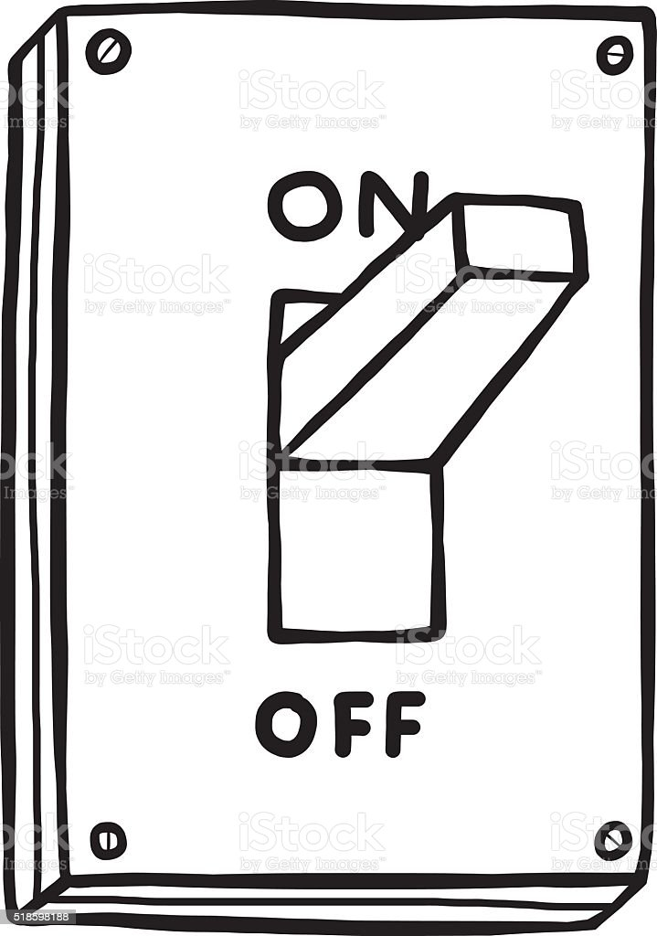 royalty free cartoon of on off switch clip art  vector