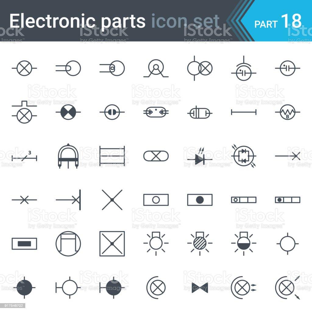 Elektrische Symbole Einstellen Der Beleuchtung Stock Vektor Art und ...