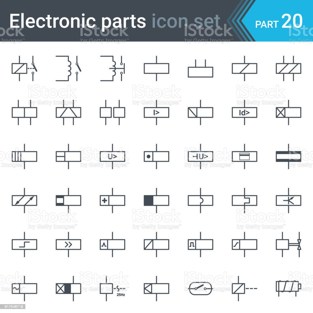 Electric Symbols Set Of Relays And Electromagnets Stock Vector Art ...