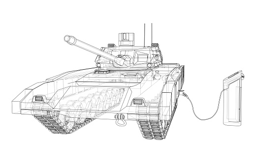 Electric Tank Charging Station Sketch. Vector