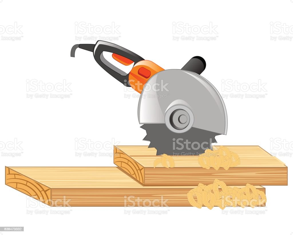 Electric tools cutter vector art illustration