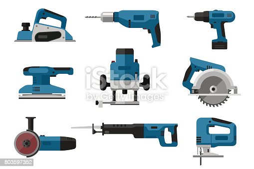 Building electric tools set in flat style. Vector illustrations of saws, drill, planer, grinders, screwdriver.