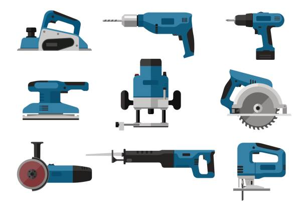 Electric tools set Building electric tools set in flat style. Vector illustrations of saws, drill, planer, grinders, screwdriver. electric saw stock illustrations