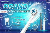 Electric toothbrush ads. Tooth model and product package design concept. vibrant toothbrush with different cleaning programs. 3d Vector illustration EPS 10