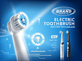 Electric toothbrush ads, different mode of this product with white tooth model on blue background in 3d illustration, black and white brushes for choice