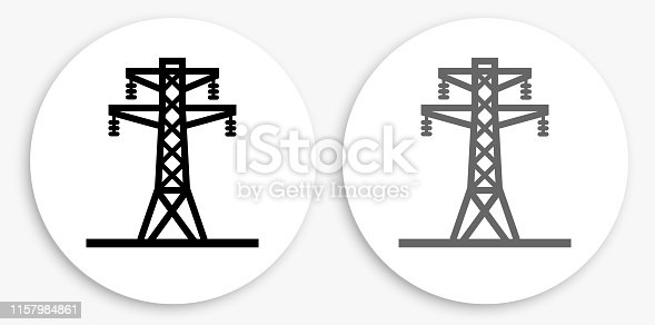 istock Electric Tower Black and White Round Icon 1157984861