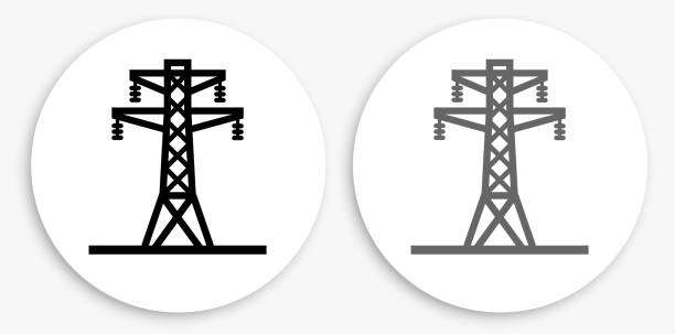 Electric Tower Black and White Round Icon Electric Tower Black and White Round Icon. This 100% royalty free vector illustration is featuring a round button with a drop shadow and the main icon is depicted in black and in grey for a roll-over effect. electricity pylon stock illustrations