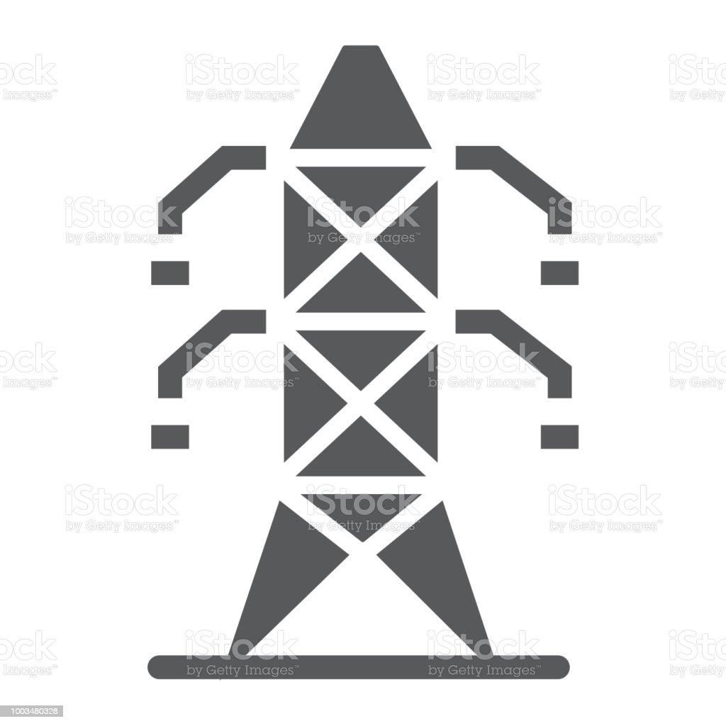 Elektrische Turm Glyphe Icon Ökologie Und Energie Strom Zeichen ...