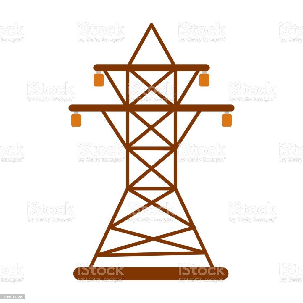 Elektrische Turm Symbol Energielabel Für Web Auf Weißem Hintergrund ...