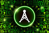 Electric Tower  Icon on Money and Cryptocurrency Background. The main symbol depicted is in the center of the illustration. The background is made up from icon with the cryptocurrency and money theme. These vector icons make up a pattern and vary in size and in the shade of the green color. The background color is black. This image is ideal for the current cryptocurrency themed illustrations.