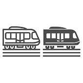 istock Electric train line and solid icon, Public transport concept, Subway sign on white background, high speed train icon in outline style for mobile concept and web design. Vector graphics. 1257317638