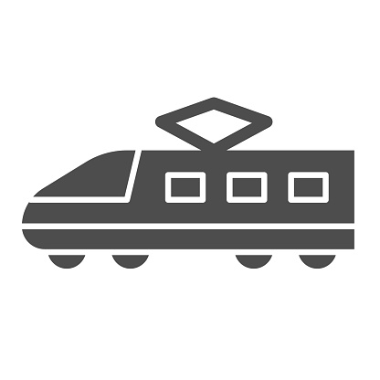 Electric train solid icon, transportation symbol, Modern high speed train vector sign on white background, subway icon in glyph style for mobile concept and web design. Vector graphics.
