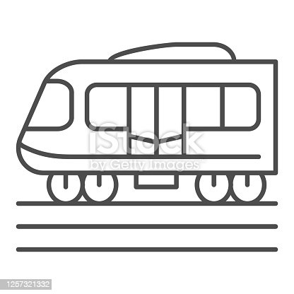 Electric train thin line icon, Public transport concept, Subway sign on white background, high speed train icon in outline style for mobile concept and web design. Vector graphics