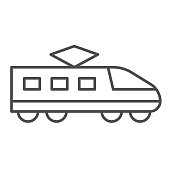 Electric train thin line icon, transportation symbol, Modern high speed train vector sign on white background, subway icon in outline style for mobile concept and web design. Vector graphics