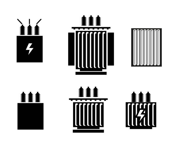 Electric transformer icon vector illustration. electricity transformer stock illustrations