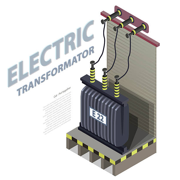 Electric transformer isometric building info graphic. High-voltage power station. Electric transformer isometric building info graphic. High-voltage power station. Old plant architecture. Scientific illustration. Pictogram industrial electricity set. Flatten isolated master vector. transformer stock illustrations