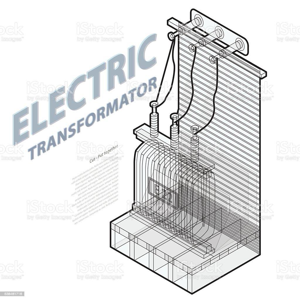 Elektrischen Transformator Isometrische Info Grafikgebäude High ...