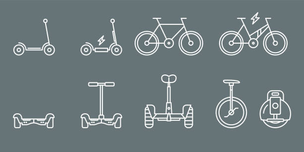 electric transport icons-set web und mobile 01 - motorroller stock-grafiken, -clipart, -cartoons und -symbole