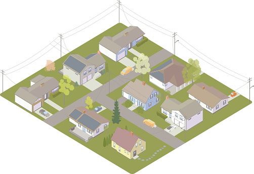 Illustration of electric utility customers in a grid, including a suburban neighborhood with utility poles, service trucks, and a few houses with solar panels on their rooftops. Detailed vector is presented in isometric view.