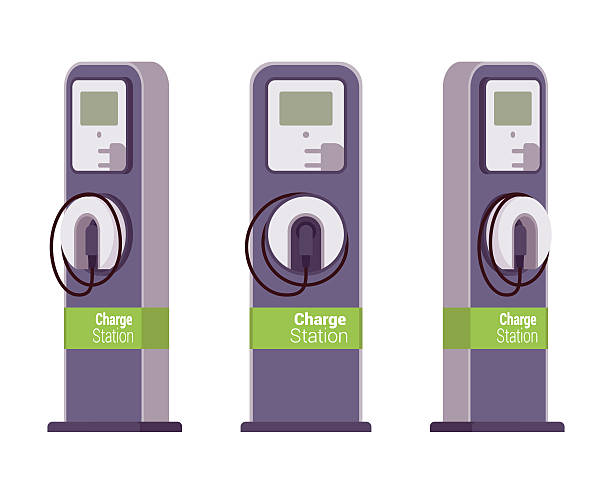 Electric vechle charging station Electric vechle charging station from different positions isolated against white background. Cartoon vector flat-style illustration electric vehicle charging station stock illustrations