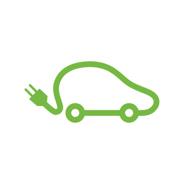 Electric vehicle car icon. Electric vehicle car icon. electric car stock illustrations