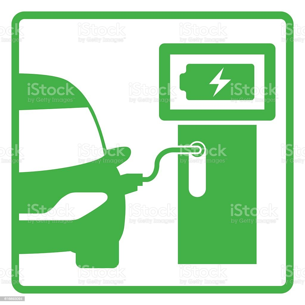 electric vehicle charging station, electric recharging point vector art illustration