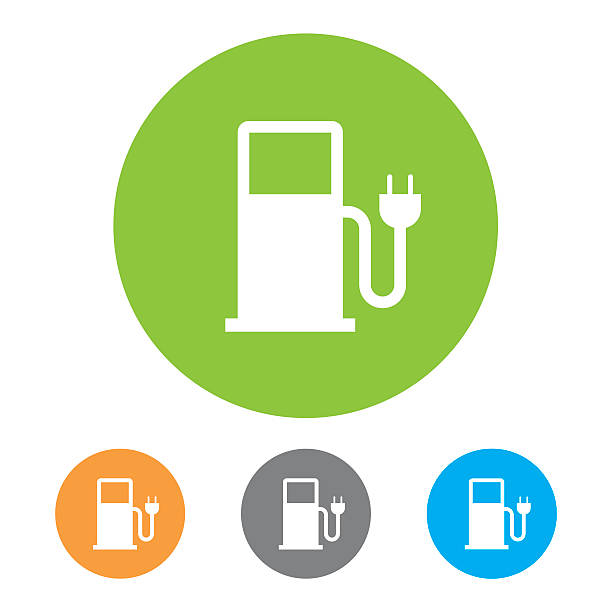 Electric vehicle charging station Icon Electric vehicle charging station Icon. Eps10 vector illustration with layers (removeable). Pdf and high resolution jpeg file included (300dpi). electric vehicle charging station stock illustrations