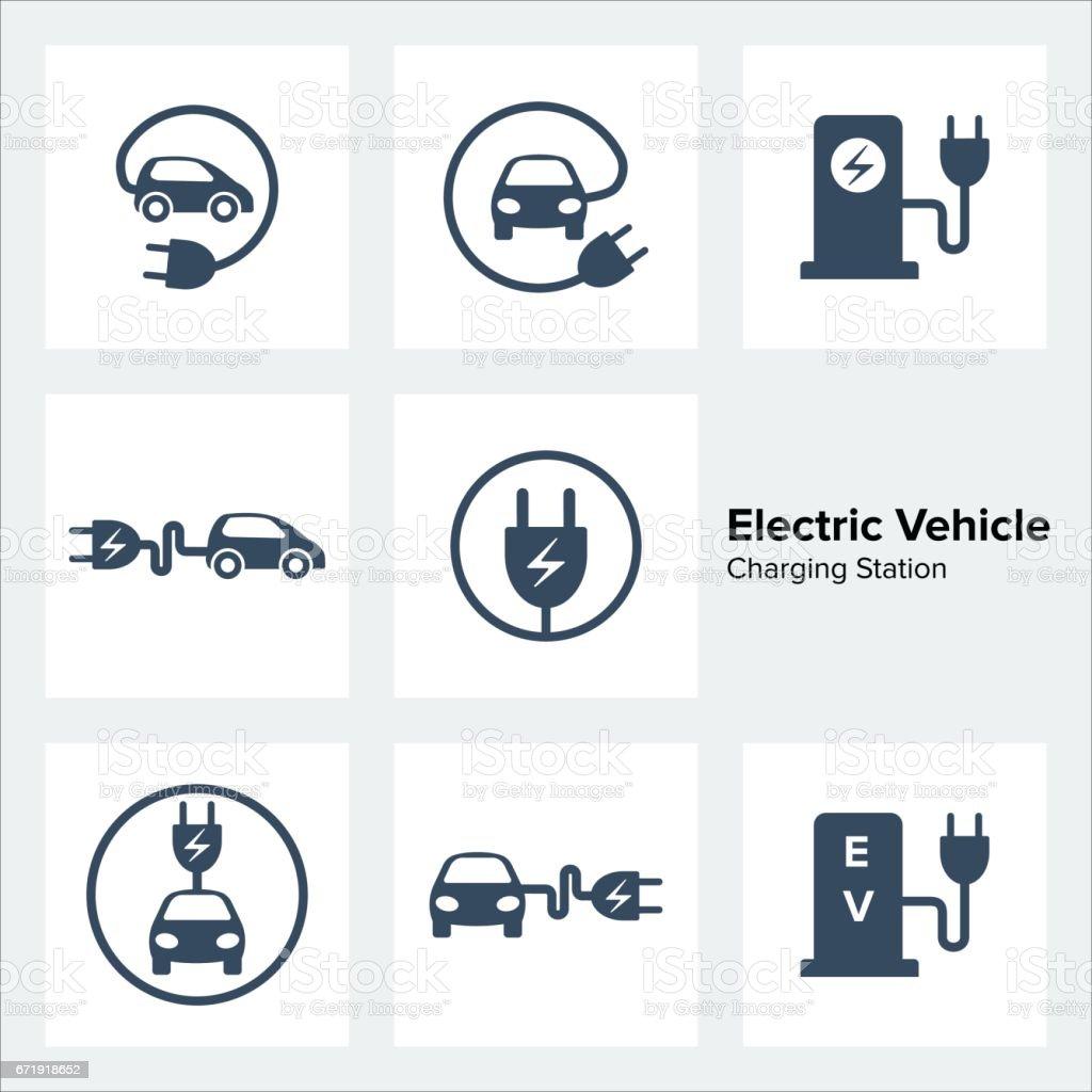Electric Vehicle Charging Station Icons Set royalty-free electric vehicle charging station icons set stock illustration - download image now