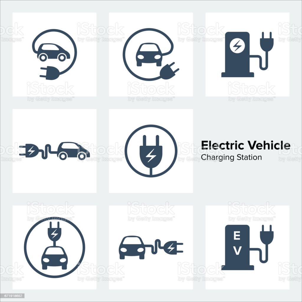 Electric Vehicle Charging Station Icons Set vector art illustration