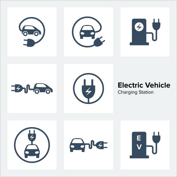 Electric Vehicle Charging Station Icons Set Electric Vehicle Charging Station Icons Set, vector illustration electric vehicle charging station stock illustrations