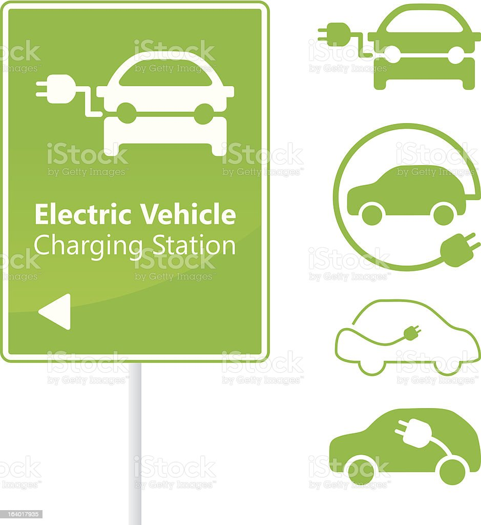 Electric Vehicle Charging Station road sign with set of icons vector art illustration