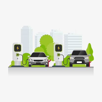 Electric vehicle charging technology at parking area vector illustration