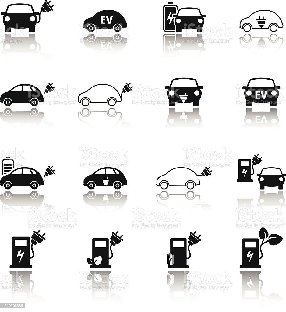 Electric vehicle icon set vector art illustration