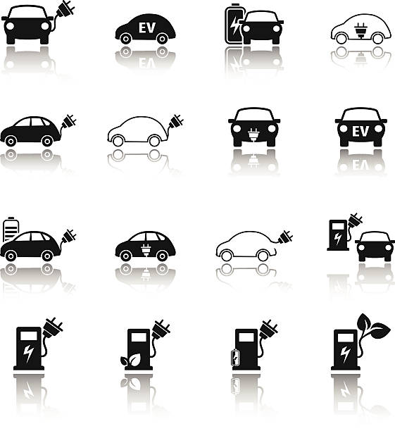 Electric vehicle icon set EPS 10 file electric car stock illustrations