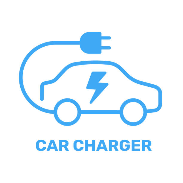 Electric vehicle power charging station. Electrical car symbol. Electric car icon with charging cable. Vector illustration. EPS 10. vector art illustration