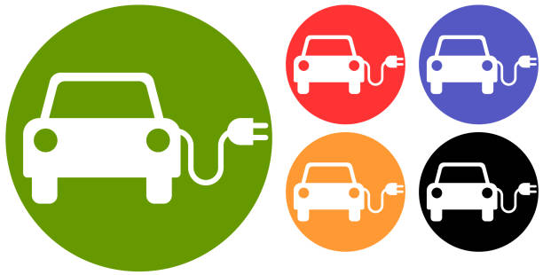 Electric Vehicle Electric vehicle symbol. electric car stock illustrations