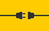 istock Electric wire Plug and Socket unplugged icon symbol. Internet connection error 404 logo sign. Vector illustration image. Isolated on yellow background. 1268659121