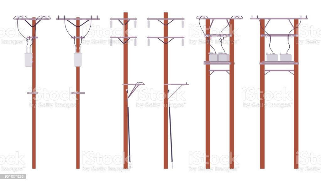 Conjunto De Postes De Cables Eléctricos - Arte vectorial de stock y ...