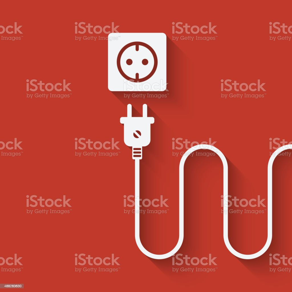 Electric Wire With Plug Near Outlet Stock Vector Art More Images Wiring A Royalty Free